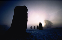 Avebury winter - in headlights