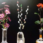 Flower arrangements and vases of semi  precious stone.