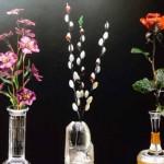 Flower arrangements and vases of semi  precious stone.